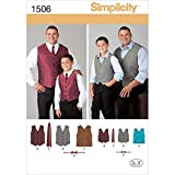 Simplicity 1506Größe Eine Husky Jungen und groß und hoch Herren Westen Schnittmuster, Mehrfarbig