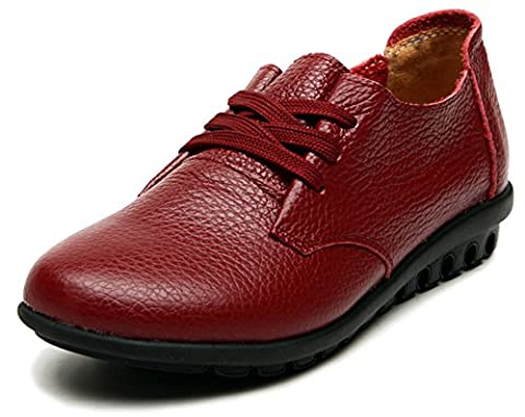 Fangsto Women's Classic Leather Oxfords Flats Shoes Lace-Ups UK Size 5 Red