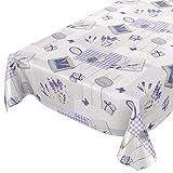 Tovaglia plastificata lavabile; motivo con lavanda, cuori, Provence; di colore grigio e violetto; dimensioni selezionabili, asciugamani, Lavendel Herzen Provance Violett Grau, 100 x 140 cm