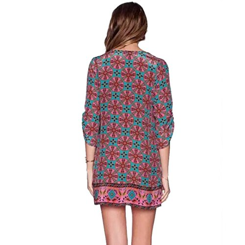 Tonsee® Femmes Manches 3/4 Totem Fleur Vintage Pattern Imprimer Robe dété en vrac Rose