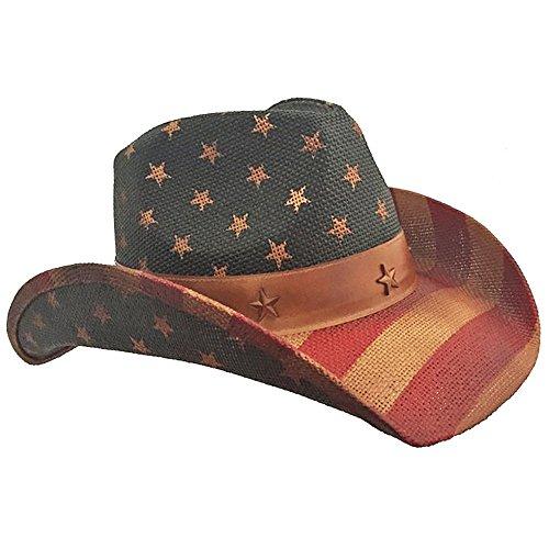 n Flag Vintage Cowboyhut One Size Fits Most rot/weiß/blau ()