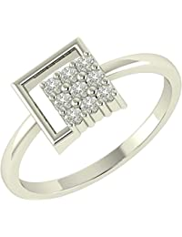 Asset Jewels Sterling Silver Certified Real Diamond Rhodium Handmade Ring - B07856R16K
