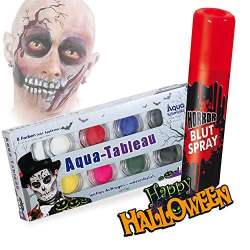 KarnevalsTeufel Halloween Schminkset Aquaschminkfarbe mit Zusatz nach Wahl Theaterschminke Spray...