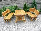 Luxus Pur UG Rustikale Sitzgruppe aus Eiche für den Garten - Langer Tisch aus Holz und 2 Bänke mit Rückenlehne, Länge:300 cm, Farbe:12 - Mahagoni