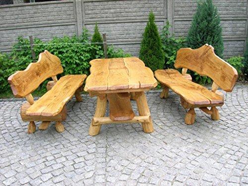 Luxus Pur UG Rustikale Sitzgruppe aus Eiche für den Garten - Langer Tisch aus Holz und 2 Bänke mit...