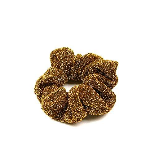 Kleine Haargummis im 2er-Set aus Glitzerstoff (Gold) 021-00024