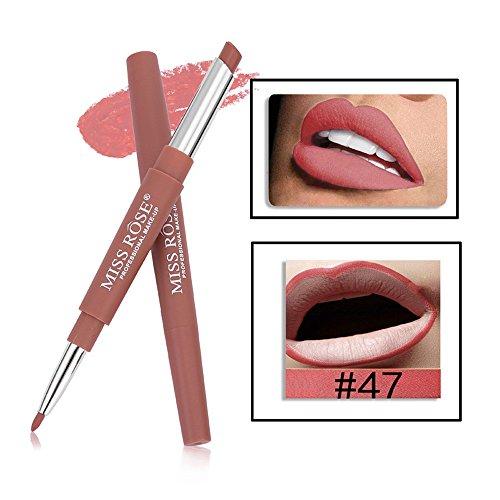 gaddrt MISS ROSE Doppel-End Lasting Lipliner Wasserdicht Lip Liner Stick Bleistift 14 Farbe (F)