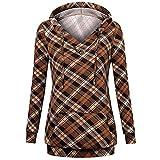 VEMOW Herbst Winter Elegante Damen Frauen Langarm Hoodies mit Knopf Gedruckt Lässig Täglichen Sport Outdoors Hoodies Herbst Sweatshirt(X2-Kaffee, EU-40/CN-M)
