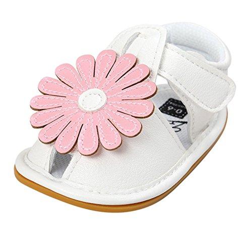 Happy Cherry Baby Mädchen Sandalen Sommer Kids Schuhe PU Leder 11cm Innenlänge Lauflernschuhe Rutschfest Weiche Sohle Krabbelschuhe Babyschuhe mit Blumen (Farbe Größe wählbar) Rosa