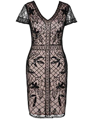 Kayamiya Damen 1920er Jahre Gatsby Kleid Pailletten Perlen Cocktail Flapper Kleid mit Ärmeln XL Schwarz Beige (Perlen Ärmel Kurze)