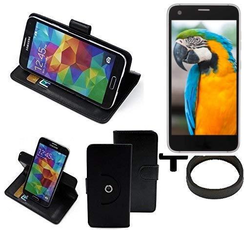 K-S-Trade® Case Schutz Hülle Für -Vestel V3 5040- + Bumper Handyhülle Flipcase Smartphone Cover Handy Schutz Tasche Walletcase Schwarz (1x)