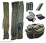 CARP FISHING LUGGAGE SET - LARGE CARRYALL ROD HOLDALL RIG WALLET GLUG POTS