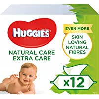 Huggies Baby Wipes, Natural Care Extra Care Sensitive Baby Wipes, Pack of 12 x 56