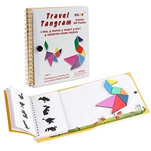 Coogam Viaje magnético Tangram Puzzles Libro Juego Tangrams Jigsaw Formas Disección con Solución para Niños Adulto Holiday Traveler Tangoes Challenge IQ Educational Toy (360 Patrones) de Coogam