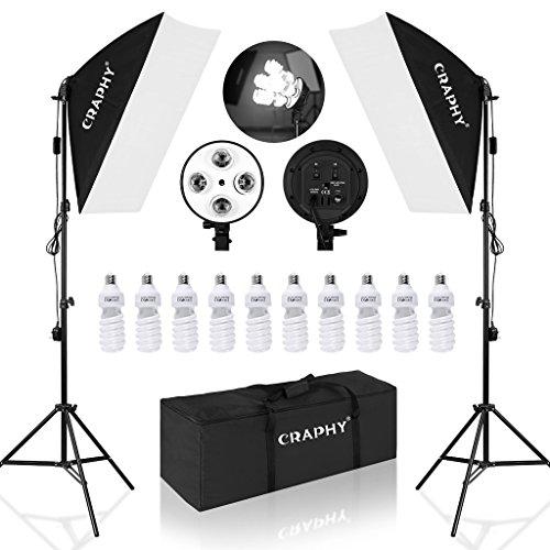 CRAPHY Softbox Set, Softbox Dauerlicht mit 4 in 1 Lampenfassung, Studioleuchte Set mit 2X Softboxen, 10x Fotolampen(45W), Softbox Studioleuchte für Green Screen, Portrait und Videoaufnahme
