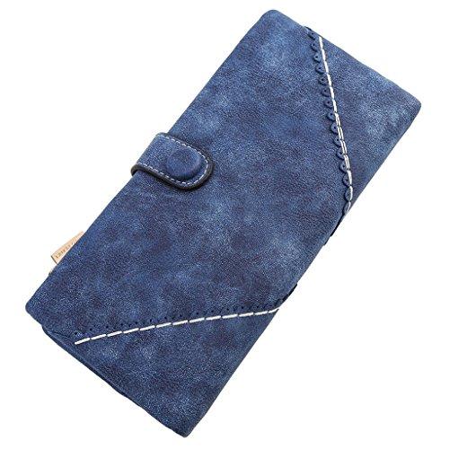 XKMON Donna Moda Lungo Portafogli di pelle Pulsante Borsa Signora Da Borsetta bx115 Rosa Blu reale