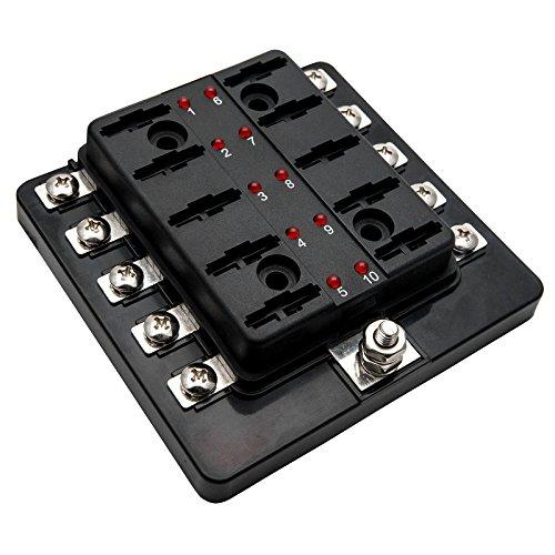 KFZ Sicherungskasten-Maso Boot 10Wege Universal Standard 12V Volt ATC Blade Fuse Box/Cover Camper Van -
