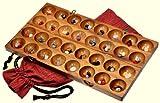 Hus - Bao - Kalaha - Bohnenspiel - Muschelspiel - Edelsteinspiel aus Samena-Holz inkl. 75 Edelsteinen und Stoffbeutel