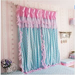 diaidi korean romantic curtain girls princess polka dot window curtain blue pink red. Black Bedroom Furniture Sets. Home Design Ideas