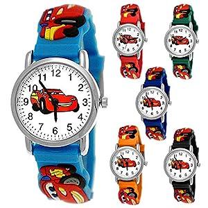 Kinder Autos Cars Kinder Uhr Jungenuhr Mädchenuhr Auto Rennauto Armbanduhr Silikon Armband Junge Kinderuhr Schwarz Helblau Blau Rot Orange Grün Sport-Uhr Lern-Uhr 3D