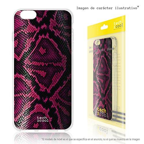 (Funnytech Samsung Galaxy J6 Plus / J6+ Hülle SchutzHülle Soft TPU Silikon Transparent für Samsung Galaxy J6 Plus / J6+ l Case, Cover, Handy, High Definition Druck [Textura Serpiente Violeta])
