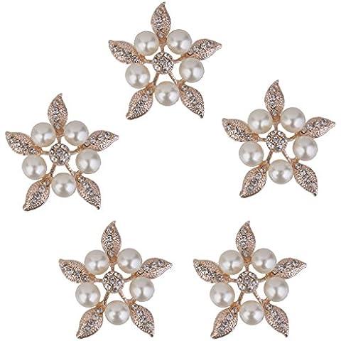 5pcs De Perlas De Cristal De Flores Diamantes De Imitación Botones Adornos 38mm