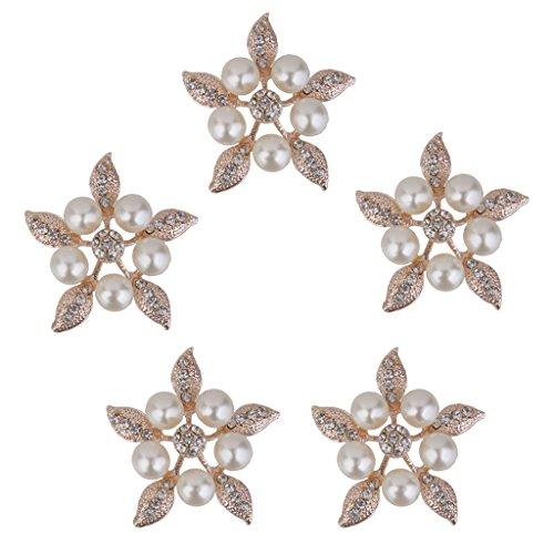5pcs De Perlas De Cristal De Flores Diamantes De Imitación Botones Ad