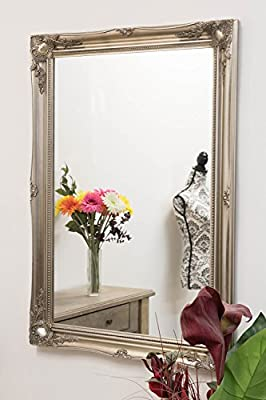 EXTRA LARGE FRENCH SILVER Overmantle / Wall MIRROR complete with Premium Quality Pilkington's Glass - Size: 30 inches x 42 inches (75cm x 105cm) by Shabby Chic Mirrors - cheap UK light store.
