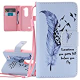 LG Leon Case, LG Leon 4G LTE Case, LG Leon H340 C40 Cover, ISAKEN LG Leon 4G Lite H340, Luxury Elegant Printing Drawing Design Pattern Case Magnetic Flip Protective Cover Executive Wallet Bool Style PU Leather Cover with Credit Card Holder slots - feather black birds