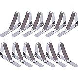 Tischdeckenklammern,12 Pack Metall Tischtuchklammer Tischklemmen Große Tischdecke Clips Einstellbare Anti-Rutsch Heavy Duty Tischdecke Klammern für Zuhause Restaurant Picknick Drauß Edelstahl Silber 45MM