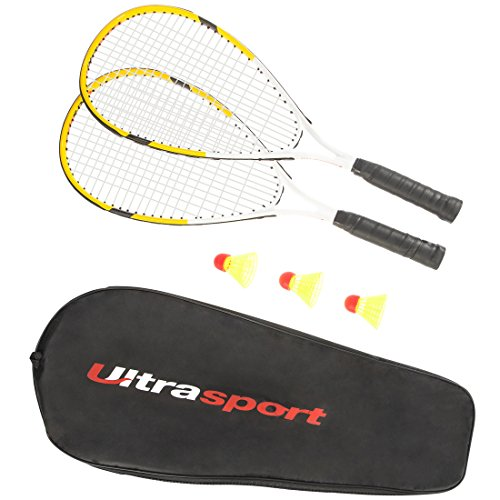 Ultrasport Fastball-Set Turbo-Badminton, Badminton Set mit 2 Schlägern und 3 Federbällen, Speedbadminton Set inklusive Tragetasche, ideal für das schnelle Match zwischendurch, Gelb