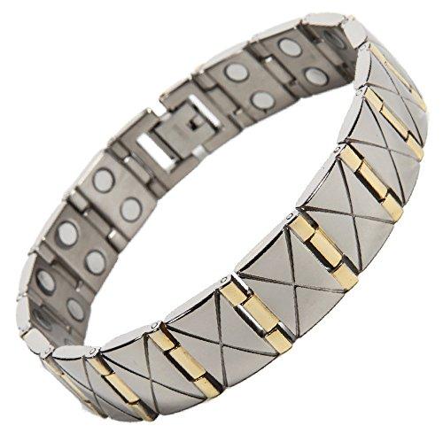 North South TD16 Armband, Titan, zweireihig, Magnetverschluss, Gliederarmband mit Geschenkbox und Werkzeug zum Entfernen von Gliedern