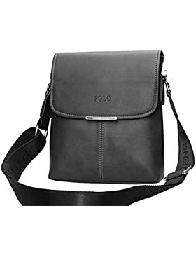 MissFox Herren Geschäft Tasche Vertikal Normallack Metall Reißverschluss Schulter Umhängetasche Können iPad Setzen