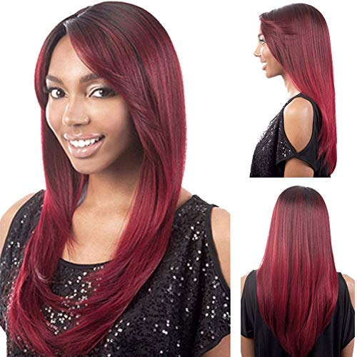 WWENY Peluca De 27.5 Pulgadas para Mujer - Gradient Wine Red Color Micro Curly Hair - Tapa De Peluca...