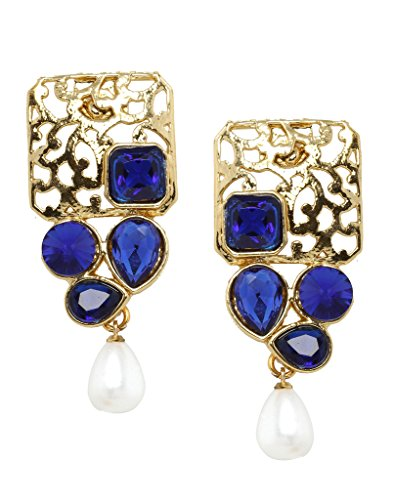 Bindhani Blue Gold Plated Dangle & Drop Earring for Women