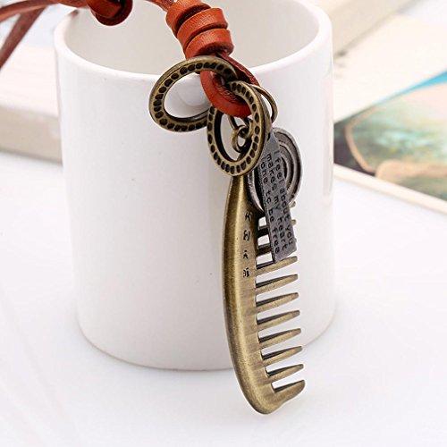 YAZILIND Maxi Femmes Hommes Bijoux Vintage Brown cuir Peigne Lettre Colliers Pendentifs Rope Statement Brun clair