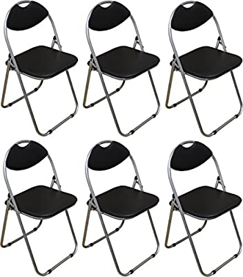 Harbour Housewares Black Padded, Folding, Desk Chair - Pack of 6 - cheap UK chair store.