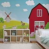 Bauernhof-Cartoon-Jungen-Schlafzimmer - Forwall - Fototapete - Tapete - Fotomural - Mural Wandbild - (2977WM) - XXXL - 416cm x 254cm - VLIES (EasyInstall) - 4 Pieces