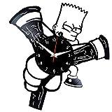 EVEVO - Orologio da parete Simpson The Simpson con disco in vinile, stile retrò, grande orologio da polso, decorazione per la casa, bellissimo regalo orologio da parete Bart Simpson The Simpson