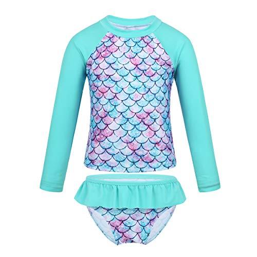 Conjunto incluye: 1Pc Top de natacion, 1Pc Pantalones Cortos Condición: Nuevo con etiqueta Material: Poliamida, elastano Tag No.---|-----Edad----|------Pecho-----|---Longitud de Mangas---|---Longitud del Top---|---Cintura de Pantalones Cortos---|---L...