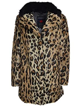 CANADIAN Pelliccia ecologica leopardata collo nero donna G217305W NATBK, regular