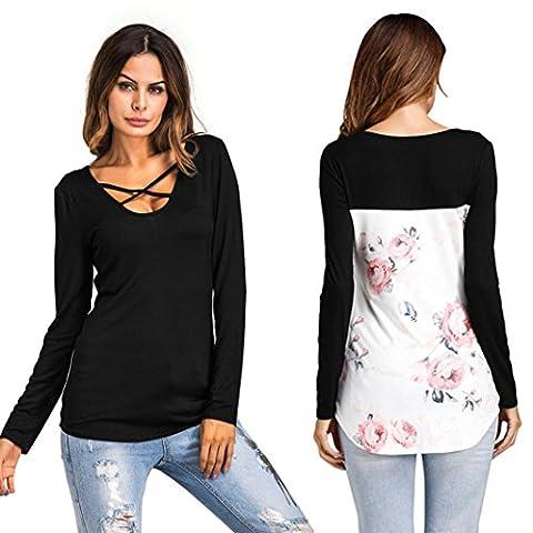 DOLDOA Damen Langarmshirt,Frauen lange Ärmel V-Ausschnitt mit Schnürung Vorne Oberteil Tops Bluse Shirt (EU:38, (Entfernung Von Cellulite)