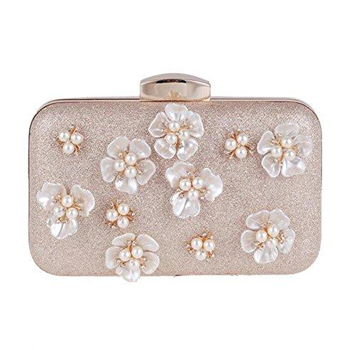Frauen Beutel Kupplungs Kleid Abend Partei Hochzeits Blumen Perlen Paket Handtasche apricot
