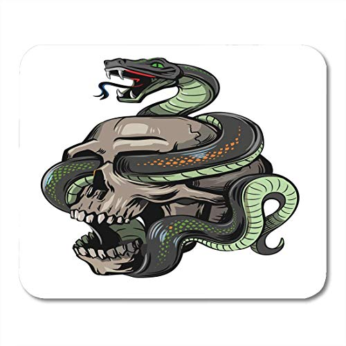 pad-Matte, Cartoon Black Tattoo Skull Snake on White Halloween Motorcycle Mouse Pad, Desktop Computers mats ()