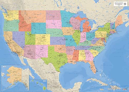 Landkarten Giant XXL Poster - USA-Karte mit Allen Staaten - Bildungsposter Maßstab 1:3,325 Mio. - 140x100 cm English Version