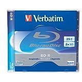 Verbatim 95357 25 GB 2X Blu-Ray Single-Layer Recordable Disc BD-R, 1-Disc Jewel Case