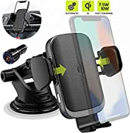 ALFAN Wireless Car Charger Mount with USB-C, 10W 7.5W Auto-Clamp Fast Wireless Charger Air Vent Phone Holder C