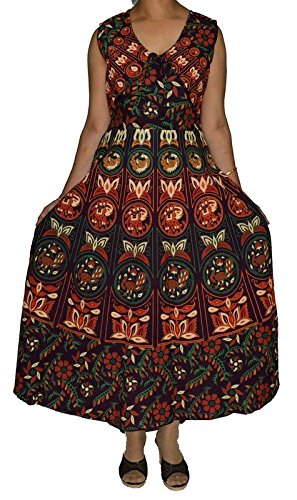 Eshopitude Fashionable Women's Multicolor Cotton Printed Jaipuri Koti (Jacket) Dress  available at amazon for Rs.599