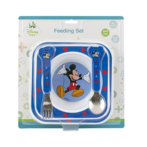 Disney Baby Mickey Mouse Feeding Gift Set - Plate Bowl Stainless Steel Cutlery