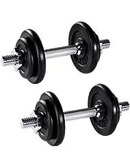 TecTake Set d'haltères courts poids barres disques fitness musculation biceps 2x 10 kg